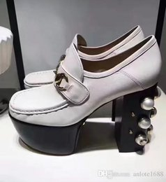 Wholesale High Platform Creepers Shoes - Pearl Studded Metallic Leather Horsebit Loafers Women High Heels Pumps Gold White Black Wedges Creepers Shoes Platform Dress Wedding Shoes