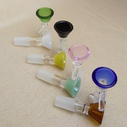 Wholesale Bol pour bongs de verre entonnoir bols tuyaux diapositives épaisses Bong fumeur couleur pièce rose heady grossistes huile Rigs pièces mm diapositive