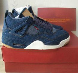 Wholesale Jeans Laces - 2018 LS x 4 Denim AO2571-401 Men Basketball Shoes 4S Blue Jeans NRG Jiont Limited Sneakers