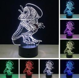 3D Film Alien Monster Xenomorph LE DSmart USB Touch 7 Farbe RGB Ändern Nachtlicht Led Glowing in the Dark Action Figure Mehrfarbenspielzeug von Fabrikanten