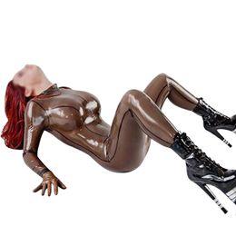 Argentina Catsuit transparente de látex negro para mujer mojado Sexy fetiche de goma mono con guantes calcetines de látex natural body LC164 cheap latex rubber socks Suministro