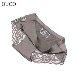 Wholesale Plus Size Cotton Thongs - QUCO brand Sexy Lace Underwear Women Soft Cotton Panties Women Thong Lace Intimate Ladies Briefs plus size M-XL W8