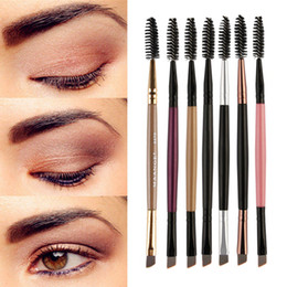 angle eyes Promo Codes - Duo Brow Makeup Brush Wood Handle Double Sided Eyebrow Flat Angled Brushes Brochas Maquillaje Profesional Pinceaux NEW #7