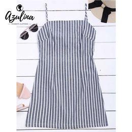f9bc9d0bcbad 20187 AZULINA Striped Self Tie Spaghetti Strap Dress Women Sleeveless Hollow  Out Mini Girls Dresses Casual Summer Dress Vestidos 2018