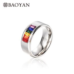 Wholesale Multi Color Stone Rings - whole saleBaoyan Fashion 316L Stainless Steel Multi Color Stone Silver Color Channel Setting Band Ring for Men N0