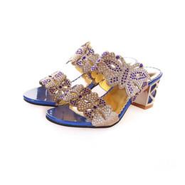 Wholesale Square Flip Flops - Wholesale-Women peep toe sandals 2016Summer Fashion open toe Woman Sandals glitter Square Heels Flip Flops Fish Mouth Shoes 1518-18