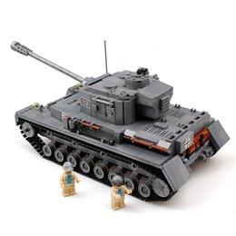 Wholesale Military Toys Tanks - KAZI Military Panzer IV War Tank Model PZKPFW-IV Building Blocks Sets DIY Enlighten Compatible Legoe Toys For Children Christmas