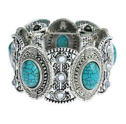 Wholesale Vintage Diamond Bracelets - Cuff Bracelet Turquoise Ethnic Exaggerated Wide Nepal Vintage Bracelet Silver Plated Diamonds Turquoise Fashion Charm Jewelry for Women