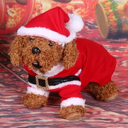 Wholesale Cheap Large Dog Clothes - Cheap coat 3D Christmas Cat Clothes Dog Cat Costume Santa Claus Costume Winter Christmas Pet Coat Apparel Cotton Clothes for