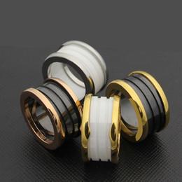 2019 joyas de oro 18k De calidad superior Whorl negro blanco anillos de cerámica de oro rosa de plata de metal de color de titanio de acero inoxidable BV anillos de la famosa marca anillo anillos