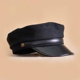 sombrero de vendedor de periódicos amarillo Rebajas Boina para mujer Sombreros de fieltro Otoño Invierno Negro Literario Británico Sombreros Dama Azul marino Gorra plana Chapeu Gorra Capitán Barco