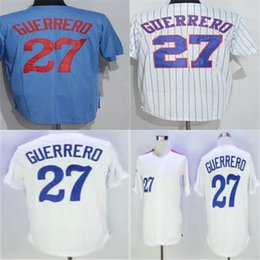 Wholesale Pinstripe Shirts - Free shipping stitched Montreal 27 Vladimir Guerrero throwback Blue White Pinstripe Cheap baseball Jerseys shirt Accept Mix Order Size M-3XL