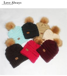 Wholesale Winter Knitted Pom Hat Wholesale - Unisex CC Trendy Winter Knitting Beanie Hats Men and Women Cotton Knit Warm Hats CC Label Skull Fashion Outdoor Caps with Fur Pom