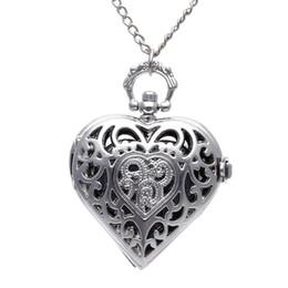 старинные часы Скидка Унисекс Карманные Часы Цепи Кварцевые Старинные Серебряные Сердца Кулон