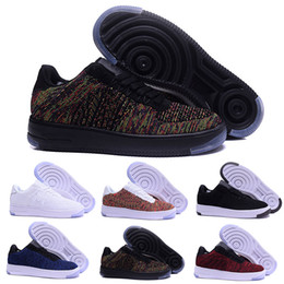 Wholesale Force Shoes - 2017 new style fly line Men Women FORCe High low lover Skateboard Shoes 1 One knit Eur size 40-45 mesh