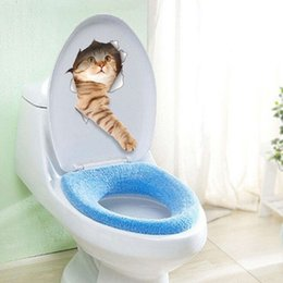 Wholesale blue metal wall art - 1PC Hot Sale 3D Cats Dogs Decorative Wall Sticker Toilet Seat Stickers Vivid View Room Bathroom Animal Art Wall Poster