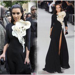 Wholesale Portrait Specials - Paris Fashion Week Red Carpet Ruffles flower front black white tigh high split 3 4 long sleeves Kim Kardashian Celebrity Dress