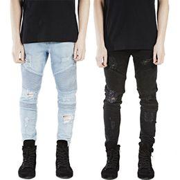 Wholesale mens black classic straight jeans - New clothing designer pants blue black destroyed mens slim denim straight biker skinny jeans men ripped jeans BIKER JEANS 28-38