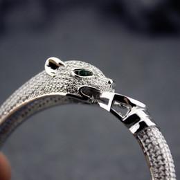 Anillos esterlinas para mujer online-Brazalete de leopardo de las mujeres plata Sterling pantera anillos de diamantes para mujer diseño clásico mujer fiesta Muse Bangles regalo de la joyería