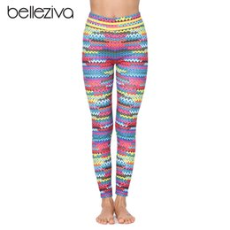 Ko online-Belleziva Fitness Yoga Hose Sport Push Up Frauen Gym Running Leggings Joggingstrumpfhose Bunte Streifen Print Frauen Workout Hosen