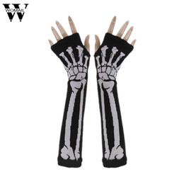 Wholesale long gloves for men - Creative Winter Warm Punk Gothic White Skeleton Halloween Long Fingerless Gloves for Women Men Amazing JL 20