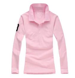 Осень женщины с длинным рукавом Поло футболка женщины Поло рубашка тройники 100 хлопок S-XL от Поставщики томми поло