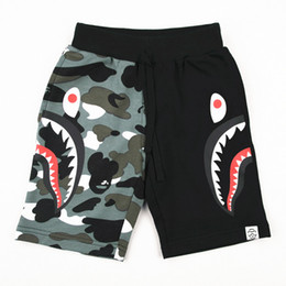 Wholesale Children Cotton Pants - Children camouflage beach shorts 2018 summer new toddler kids monkey shark pattern shorts boys contrast colors casual short pants Y8018