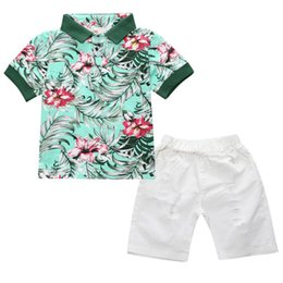 Wholesale kids polo shirts - 2pcs Toddler Kids Baby Boy Fashion Sets Flower Polo Shirt + White Short Pants Outfits Cotton Summer Clothing Set