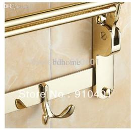 Золотое полотенце онлайн-Wholesale-Free Shipping Wholesale And Retail Promotion Fashion Hotel Home Foldable Towel Rack Holder Towel Bar W/ Hooks Golden Finish