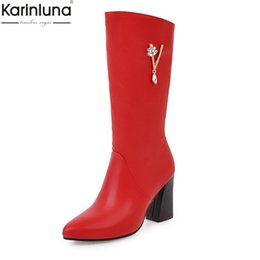 Karinluna 2018 Tamaño grande 30-50 Dropship Zip Up Shoes Mujer Botas Mujer Hoof Heels Venta caliente Mid Calf Boots Mujer Zapatos desde fabricantes