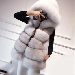 Wholesale Black Mink Vest - New Warm Faux Fox Fur Hooded Coat Women Winter Luxury Fake Fur Vest Coats Female Sleeveless Jacket Overcoat Mink Coat S-3XL