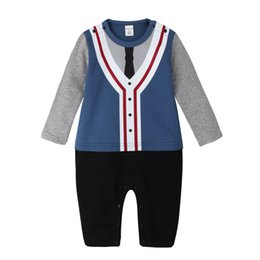 Wholesale Boys Kids Models Clothes - 2018 Autumn Baby Romper Boys gentleman Long Sleeve rompers kids relaxation Modelling climb clothes children jumpsuits baby clothing A8346