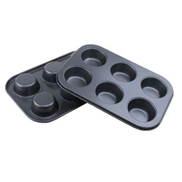 Wholesale Wholesale Muffin Pans - Cake Mould Non-Stick 6 Cups Mini Muffin Pan Mold Muffin Bun Cupcake Baking Bakeware Mould Tray Kitchen