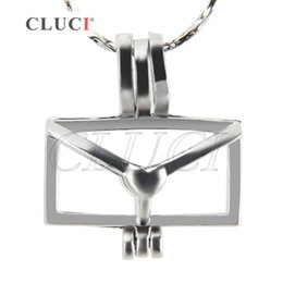Wholesale Silver Envelopes - CLUCI Fashion Charms of 18K silver plated Envelope cage pendant, Pack of 5pcs, 19.4*17*9.38mm