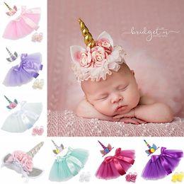 Wholesale 12 month birthday dresses - 3PCS set Newborn Baby Girls Unicorn Romper Jumpsuit Ruffle Tutu Dress Headband Shoes Infant Baby 1st Birthday Clothing Outfit Set