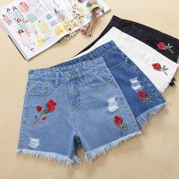 Wholesale Woman Korean Short Pants - High Waist Denim Shorts Women's Clothing Summer New White Burr Loose Korean version Roses Embroidery Holes Hot pants