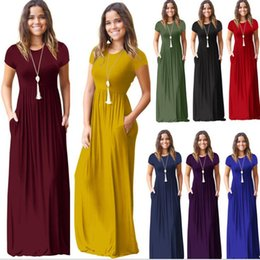Wholesale solid color maxi dresses - Women summer dress short sleeve o neck Solid Color Pocket Dress Casual Long Maxi Party Summer Beach Pocket dress LJJK895
