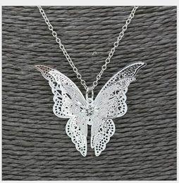 Wholesale butterfly wing pendant necklace - Wholesale 100 pcs Fashion Beauty Lady Silver Pierced Butterfly Pendant Flying Wings