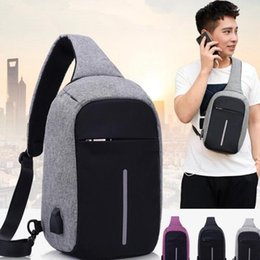 Wholesale Chest Clothes - Hot Anti-theft Laptop Notebook Backpack With USB Charging Port Children Women Men One Shoulder Bag Business Chest Pack 3 Colors