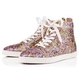 Wholesale Party France Dress - High Quality Women,Men High Top Sneaker Shoes Glitter Leather Casual Walking Shoes,France Style Red Bottom Shoes Party Dress Trainer Footwea