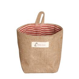 Wholesale Mini Jute Bags Wholesale - New Wholesale Zakka style storage box jute with cotton lining sundries basket mini desktop storage bag hanging bags 1pcs