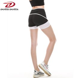 Wholesale Women Athletic Clothing - Sexy Compression Yoga Shorts For Women Clothes Highwaiste Double Layer Workout Running Sport Athletic Gym Fitness Sportswear