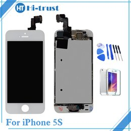 Wholesale Iphone Display Home Button - Grade AAA+++ Hi_trust Full Set LCD For iPhone 5s Display Touch Screen Digitizer Repalcement & Home Button & Front Camera &Free Shipping