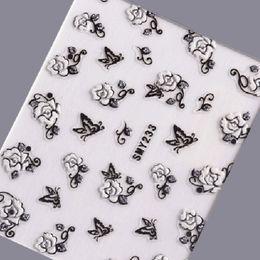 цветок серебряный лист Скидка 1 Sheet 3D Nail Art Sticker Silver Glitter Decals Flower Butterfly Adhesive 3D Nail Tips Decorations Black White Stickers