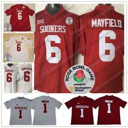 Jerseys de fútbol cosido online-Oklahoma Sooners # 6 Baker Mayfield Limited Mens Youth Kid Rojo Cosido Blanco 2018 NCAA Rose Bowl Patch College Football Jerseys