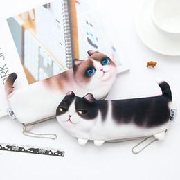 Sacchetto coreano del gatto sveglio online-New Creative School Stationery Pencil Bag Simulation Cat Pencil Bag Stampa coreana Cat Student Makeup Bag Cute Pencil Case 0384