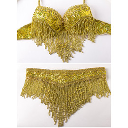 Wholesale Belly Belt Bellydance - China costume mask Suppliers 2016 Women Bellydance Clothes Eastern Style Beaded Top and Belt 2pcs Set Costumes for Belly Dance Bra Costume