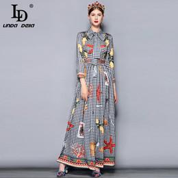 ab395a5f1b7f LD LINDA DELLA Herbst Mode Runway Maxi Kleid Frauen Langarm Bogenkragen  Retro Plaid Printed Holiday Vintage langes Kleid
