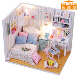Wholesale Miniature House Lighting - Assemble DIY Doll House Toy Wooden Miniatura Doll Houses Miniature Dollhouse toys With Furniture LED Lights Birthday Gift M013