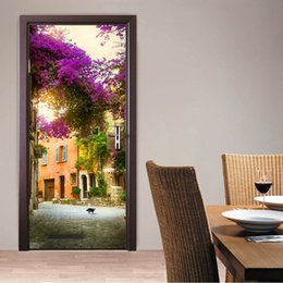 Wholesale Wall Stickers French - 2Pcs Set French Town Bedroom Door Stickers 3D Wall Decal Decoration Mural Door Renovation Wall Stickers Art Pegatinas De Pared